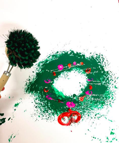 Kerstkrans schilderen met kinderen