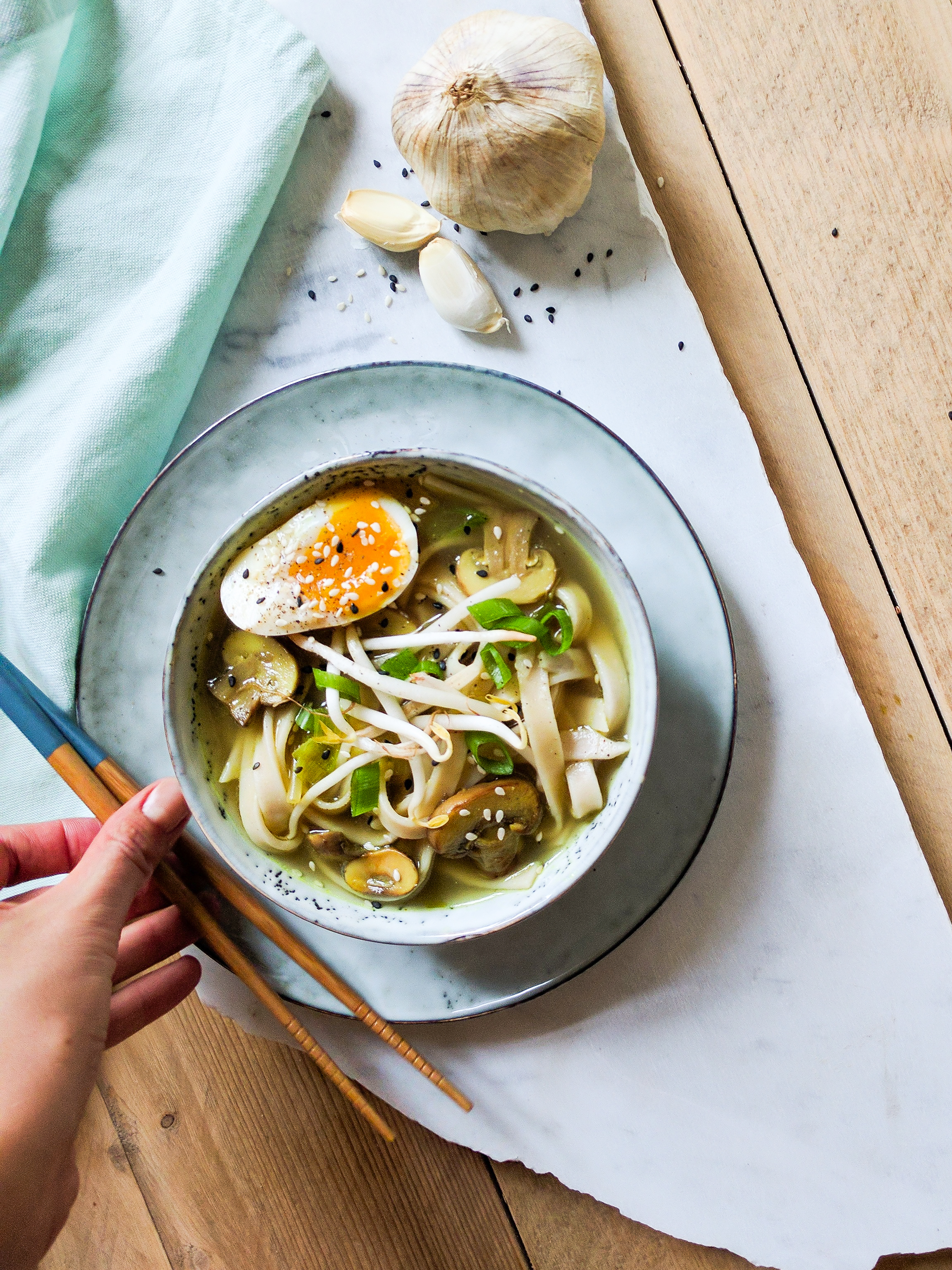 miso soup behind the scenes with hand
